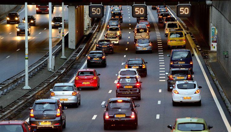 De A12 richting Den Haag tijdens de ochtendspits. Beeld ANP