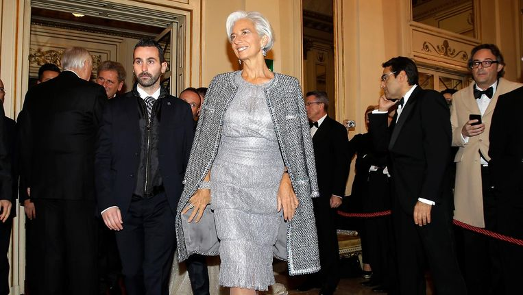 Christine Lagarde van het IMF bij de opening van het Milanese operaseizoen. Beeld ap