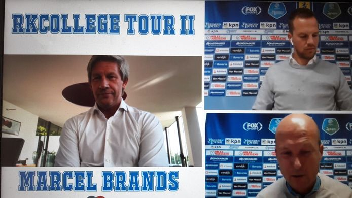 Marcel Brands (l) tijdens de RKCollege Tour in gesprek met algemeen directeur Frank van Mosselveld en commercieel directeur Willem van der Linden van RKC Waalwijk.