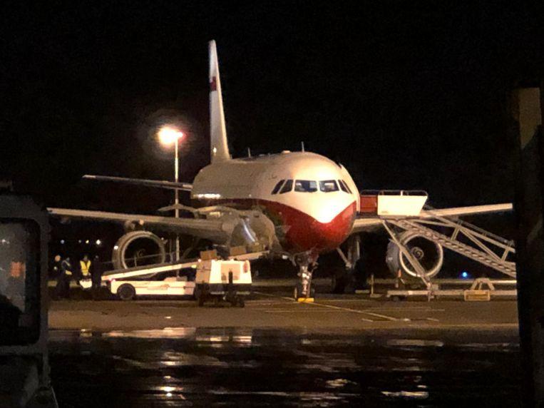 Dit vliegtuig landde vanavond op de luchthaven van Oostende