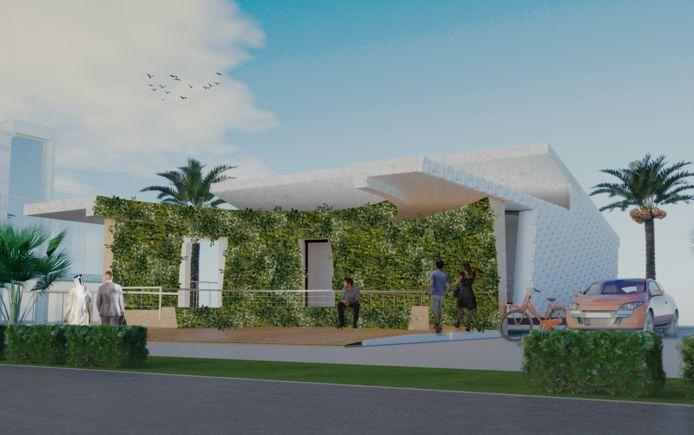Een impressie van het huis LINQ dat studenten van TU/e en Fontys maken voor een duurzaamheidswedstrijd in Dubai.