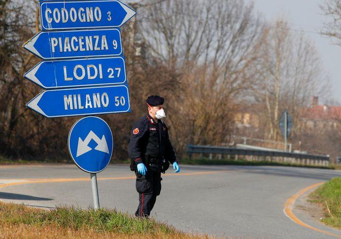 Een kruispunt bij Codogno, waar het ziekenhuis naliet om een superverspreider in quarantaine te plaatsen.