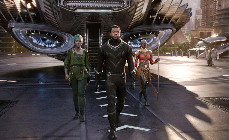 De film 'Black Panther' kaart maatschappelijke problemen aan en heeft vormende eigenschappen. Beeld AP