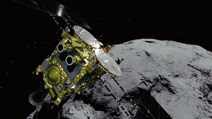 De Hayabusa2 ruimtesonde in een impressie van het Japanse ruimtevaartagentschap Jaxa.
