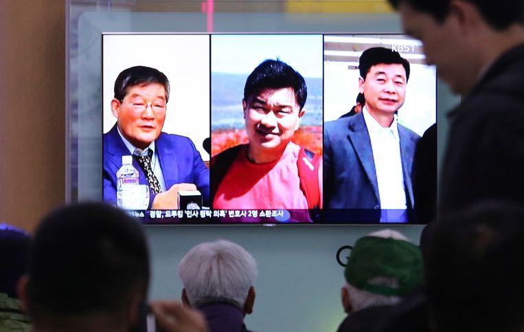 Van links naar rechts: Kim Dong-chul, Tony Kim en Kim Hak-song Beeld null