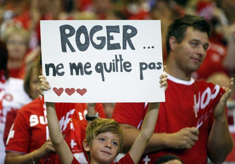Roger Federer kwam in de Davis Cup ontmoeting opdagen, in tegenstelling tot een eerdere wedstrijd tegen België. Beeld reuters