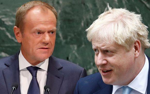 EU-president Donald Tusk en Boris Johnson.