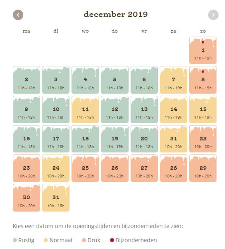 De Efteling voorspelt vooraf op welke dagen het druk is en op welke niet. Dit is de planning voor december.