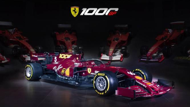 Ferrari kleurt bordeauxrood in jubileumrace op eigen circuit
