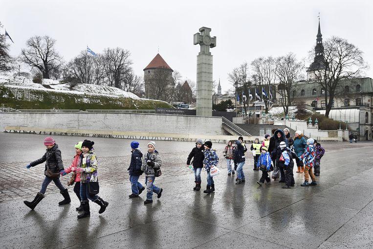 Een schoolklas in Tallinn. Beeld Guus Dubbelman