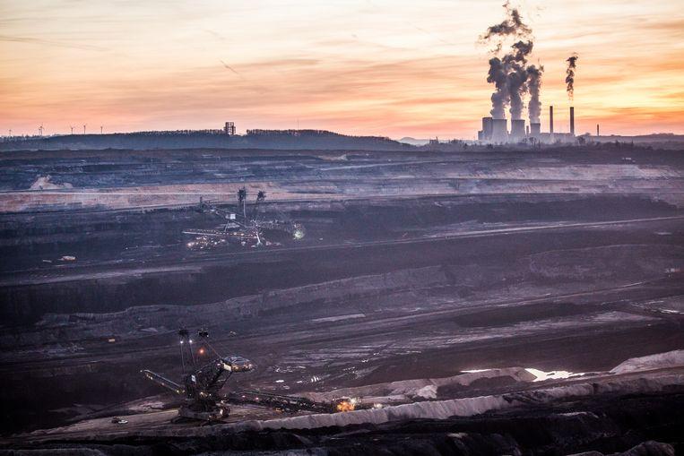 Een bruinkoolmijn in het Duitse Inden. Beeld Getty Images