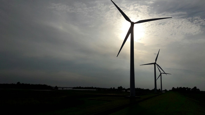 Windmolens in de Auvergnepolder.