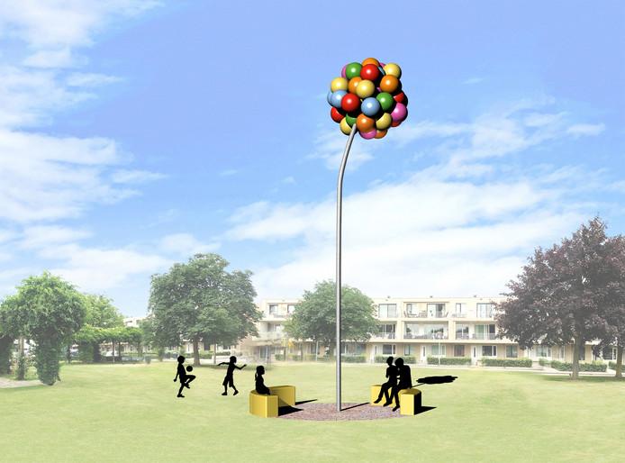Balonnen, dansend in de wind. Een impressie van het speelse kunstwerk 'Animo' van Saske van der Eerden, dat volgend jaar in de wijk Banakkers in Etten-Leur wordt onthuld.