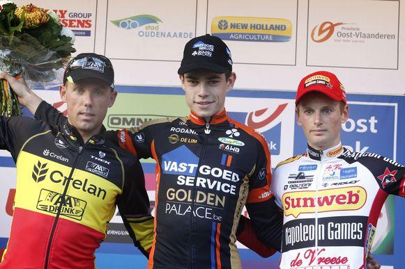 Sven Nys werd vorig jaar op de Koppenberg geklopt door Wout van Aert. Kevin Pauwels finishte als derde