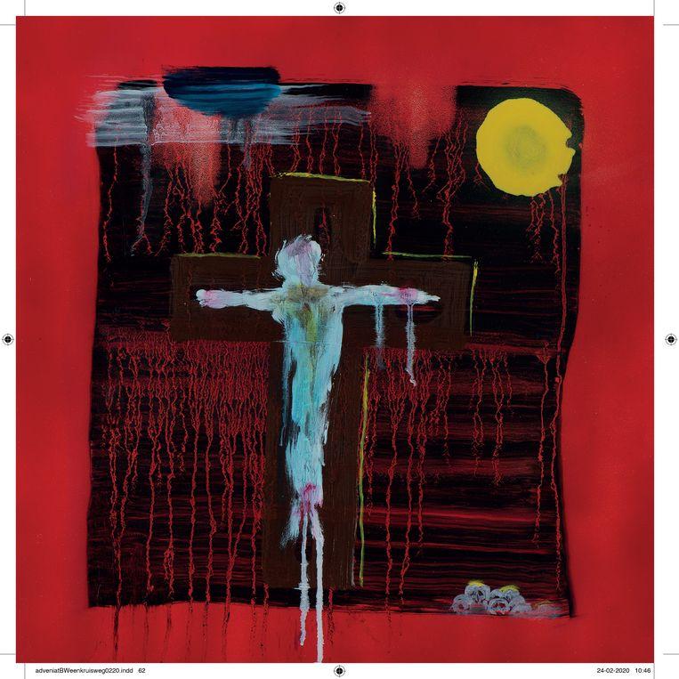 Een Kruisweg: Jezus sterft aan het kruis Beeld