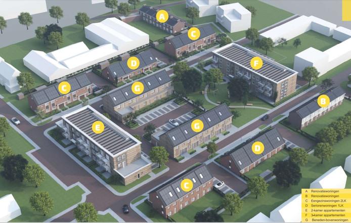 Artist impression van de nieuwbouw in de wijk Tinnegieter in Harderwijk.