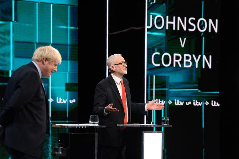 Beeld uit het ITV-debat.  Beeld EPA