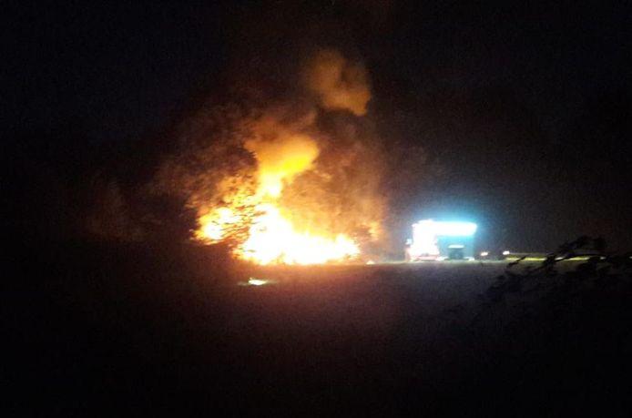 De brandende groenstrook in Helmond.