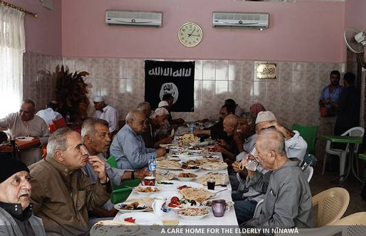 IS schrijft ook over de diensten die zij leveren aan moslims, zoals de opvang voor ouderen.