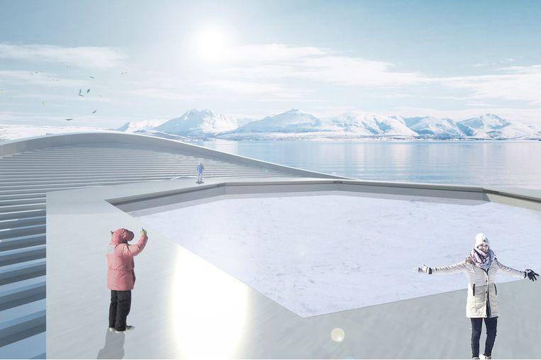 De duikboot produceert iedere maand één zeshoekig ijsblok met een doorsnee van 25 meter.