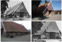 De oude vakwerkboerderij toen het monumentale gebouw nog aan de Beerninksweg in Overdinkel stond.