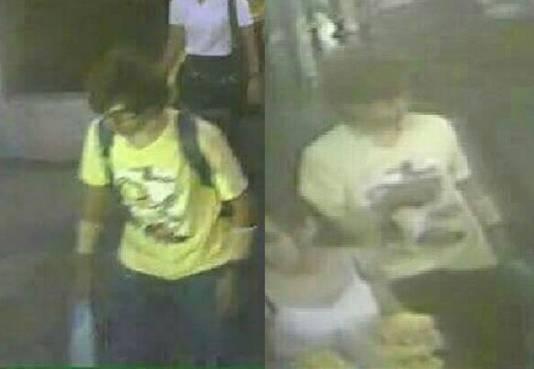 Dinsdag werden de beelden van een jongeman in een geel T-shirt naar buiten gebracht. Een kwartier voor de explosie liet hij zijn rugzak achter bij de tempel.