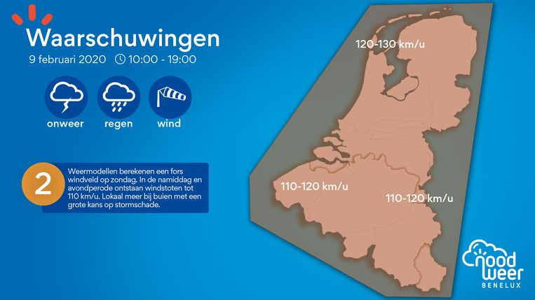 Waarschuwingskaart wind en neerslag op zondag.