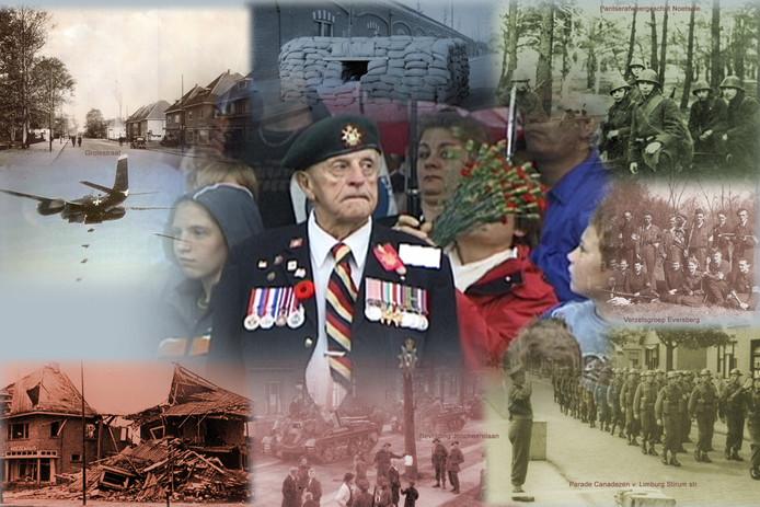 Een foto-collage van Nijverdal tijdens de Tweede Wereldoorlog.