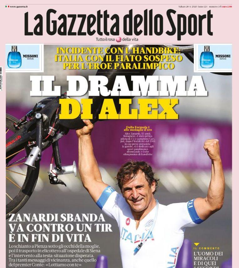 De cover van La Gazzetta dello Sport vandaag.