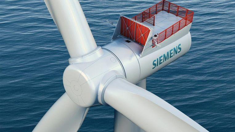 Een windturbine van Siemens van 7MW, die dankzij enkele technische verbeteringen binnenkort 8MW kan leveren. Dong is een grote klant van Siemens. Beeld Siemens