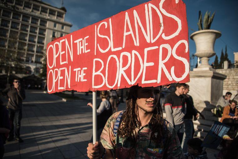 Protest in Athene over de opvang voor vluchtelingen Beeld Photo News