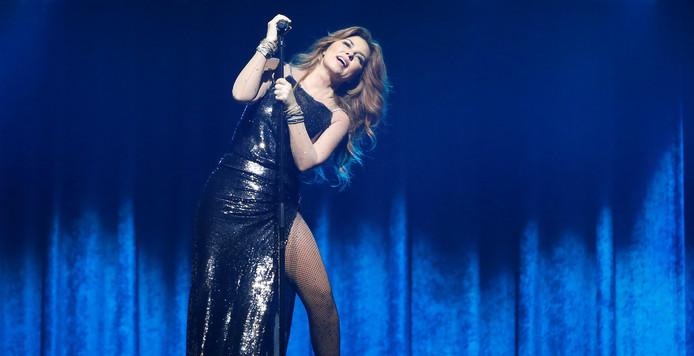 Shania Twain tijdens een optreden in Los Angeles.