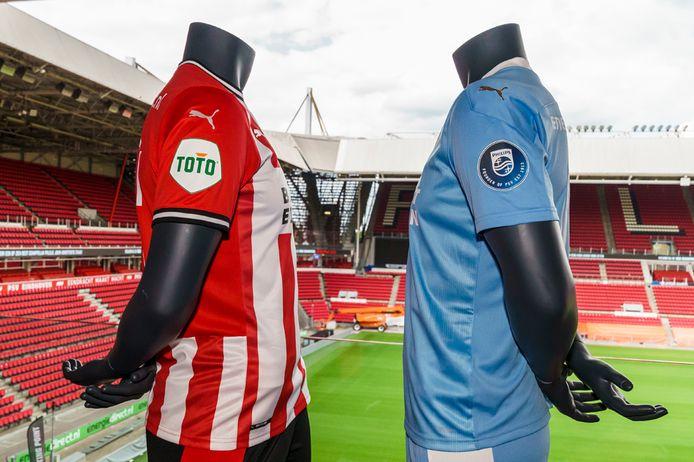Het PSV-shirt in bekerduels en vriendschappelijke wedstrijden (links). Daarop verschijnt vanaf nu het TOTO-logo. In de eredivisie blijft PSV spelen met Philips op de mouw.