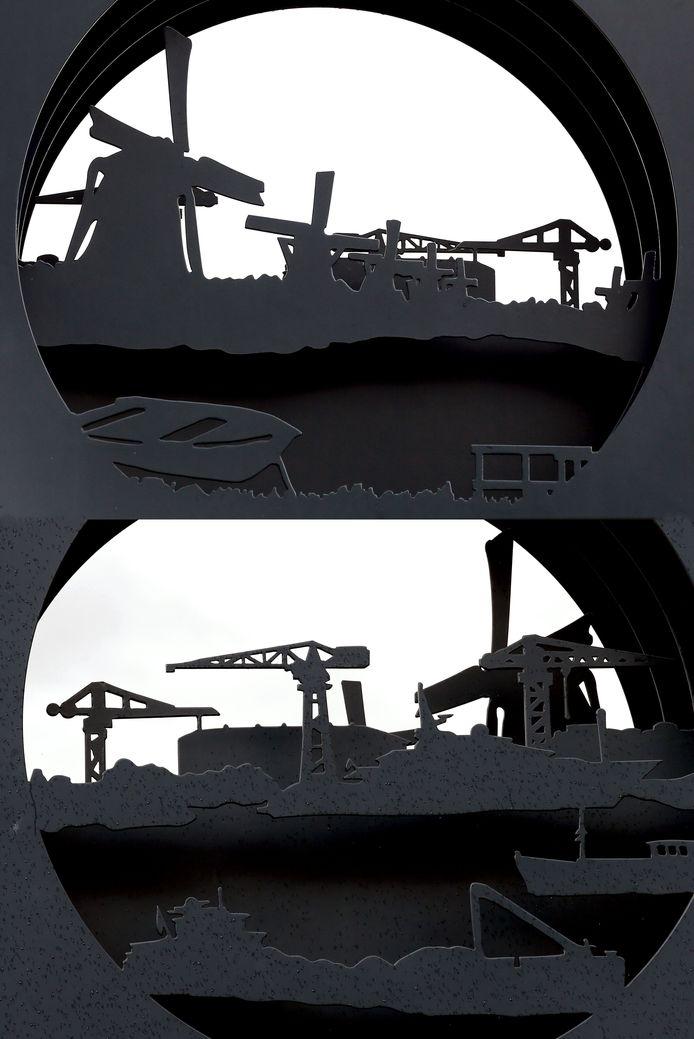 Het kunstwerk Anamorphosis stelt de molens en de omliggende industrieën voor.