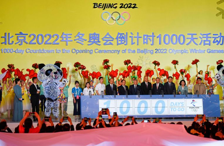 Juan Antonio Samaranch (C), vice-president of the IOC and son of the former president of the global body attends Beijing 2022 Olympic Winter Games 1,000 Day countdown event near the Beijing's National Stadium, known as the Bird's Nest, in Beijing on May 10, 2109. (Photo by WANG ZHAO / AFP)