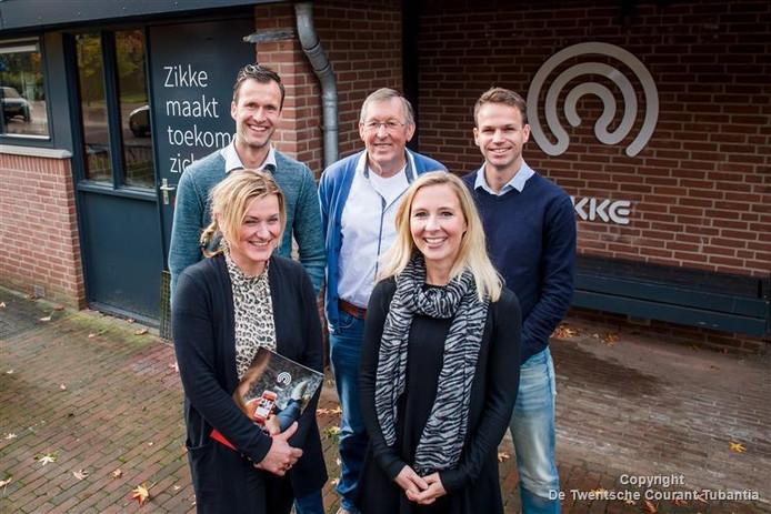 De initiatiefnemers van onderwijsproject Zikke zijn (v.l.n.r.) Björn Grundel, Gerard aan de Stegge, Gert-Jan Egberink, Bianca Weernink en Merel Arts.