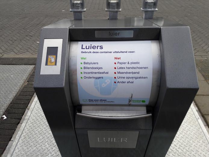 Een van de huidige vijf luiercontainers in Apeldoorn.