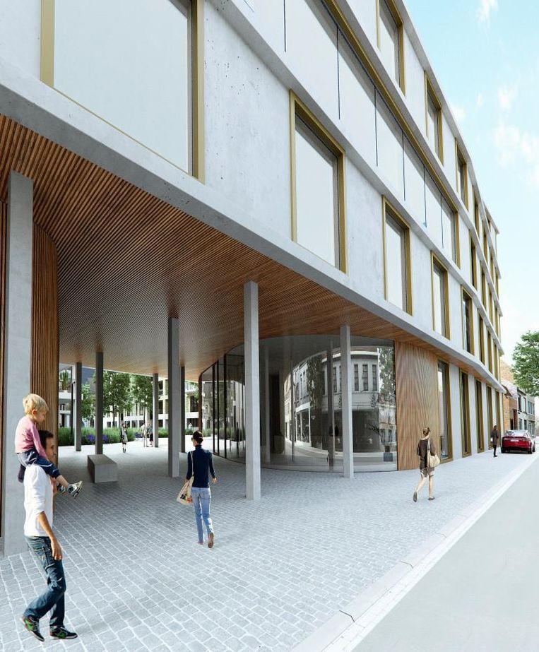Langs de Sint-Amandsstraat verrijst straks een nieuwbouw voor Crefius. Er komt ook een doorsteek naar het groene binnengebied richting H. Consciencestraat