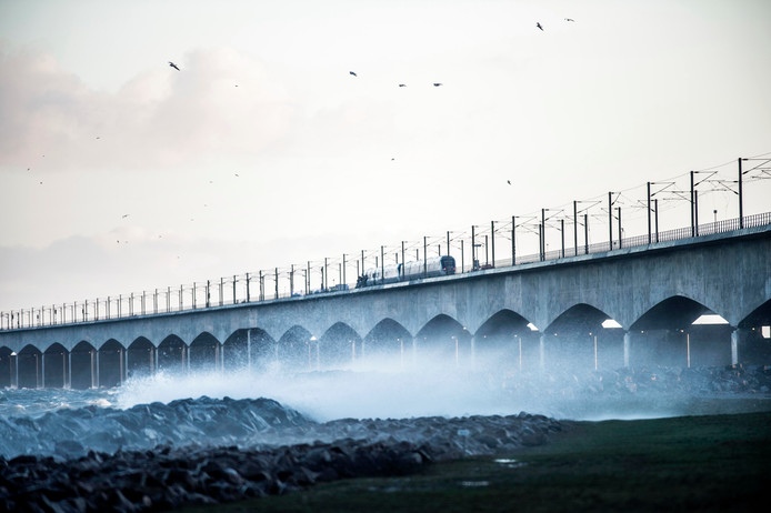 De passagierstrein staat stil op de brug.