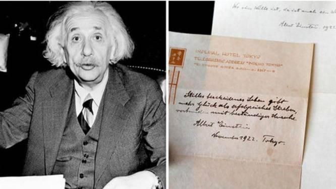 Einsteins notities met 'geheim voor geluk' gaan onder de hamer