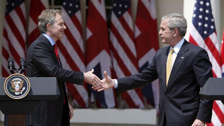 Blair en Bush in 2007. Beeld EPA