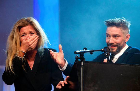 Barbara Sarafian en Yves De Moor tijdens de Ensors in 2015.