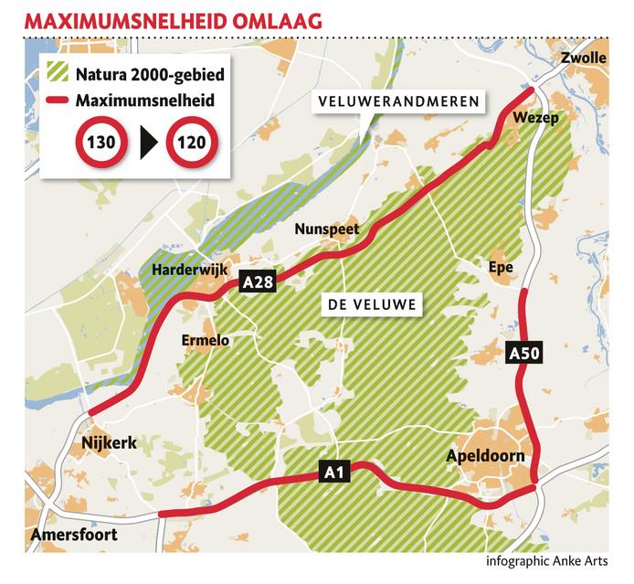 De trajecten waar de maximumsnelheid omlaag gaat.
