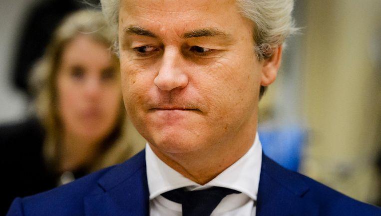 Geert Wilders tijdens zijn eerste strafproces in maart van dit jaar. Beeld anp