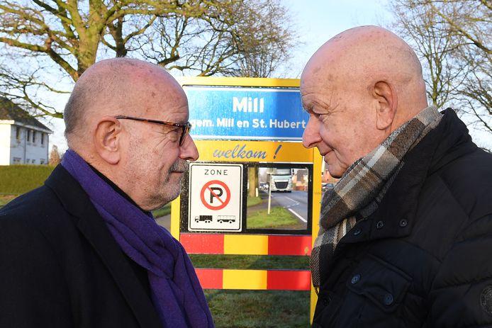 Ad en Cees (rechts) Berends, voor- en tegenstander van herindeling van Mill en Sint Hubert.