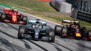 Formule 1-bolides gaan als steun voor alle hulpverleners met regenboog op wagen racen