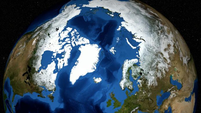 Het noordpoolgebied met in het midden links Groenland.