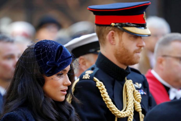 Harry en Meghan bij de opening van het Field of Remembrance vanochtend.