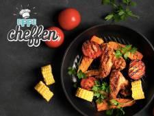 Chickenwings en geroosterde wintergroenten