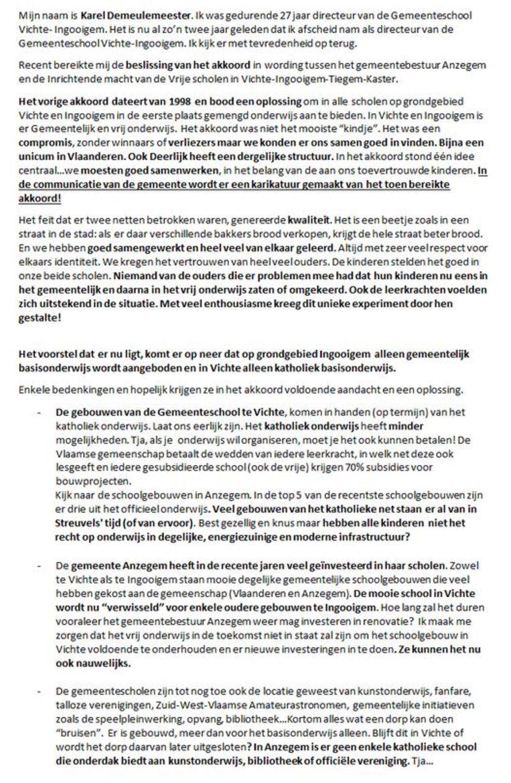 De brief van Karel Demeulemeester.